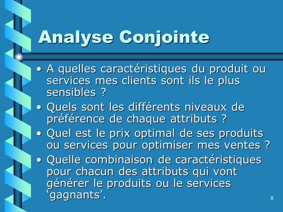 8 Analyse Conjointe A quelles caractéristiques du produit ou services mes clients sont ils le plus sensibles A quelles caractéristiques du produit ou services mes clients sont ils le plus sensibles .