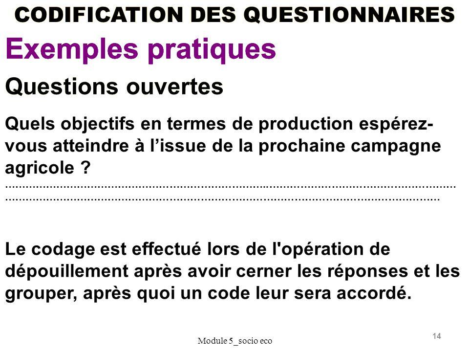 14 CODIFICATION DES QUESTIONNAIRES Exemples pratiques Module 5_socio eco Questions ouvertes Quels objectifs en termes de production espérez- vous atteindre à lissue de la prochaine campagne agricole .