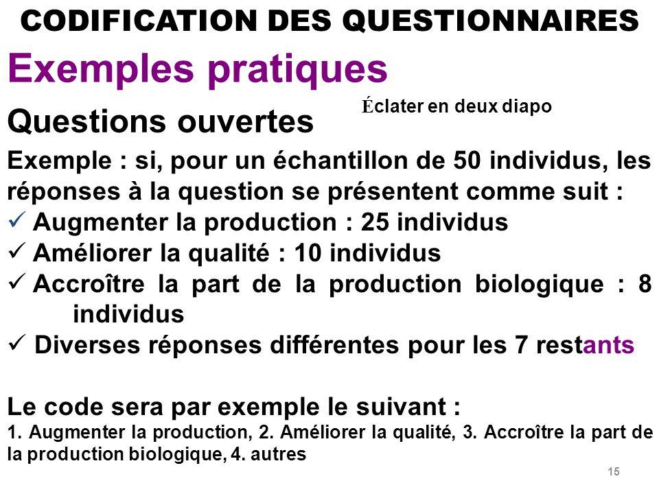 15 Exemple : si, pour un échantillon de 50 individus, les réponses à la question se présentent comme suit : Augmenter la production : 25 individus Améliorer la qualité : 10 individus Accroître la part de la production biologique : 8 individus Diverses réponses différentes pour les 7 restants Le code sera par exemple le suivant : 1.