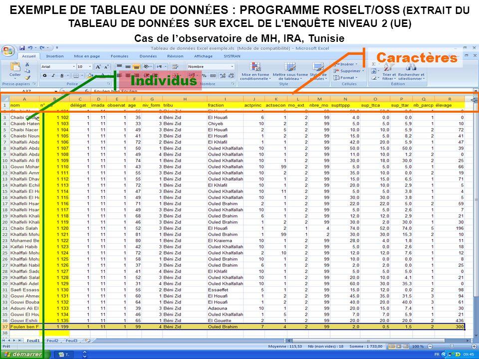 20 Individus < Caractères < EXEMPLE DE TABLEAU DE DONN É ES : PROGRAMME ROSELT/OSS (EXTRAIT DU TABLEAU DE DONN É ES SUR EXCEL DE L ENQUÊTE NIVEAU 2 (UE) Cas de l observatoire de MH, IRA, Tunisie