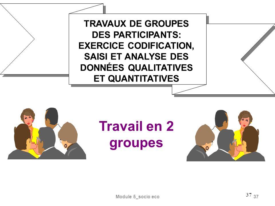 37 TRAVAUX DE GROUPES DES PARTICIPANTS: EXERCICE CODIFICATION, SAISI ET ANALYSE DES DONNÉES QUALITATIVES ET QUANTITATIVES Travail en 2 groupes