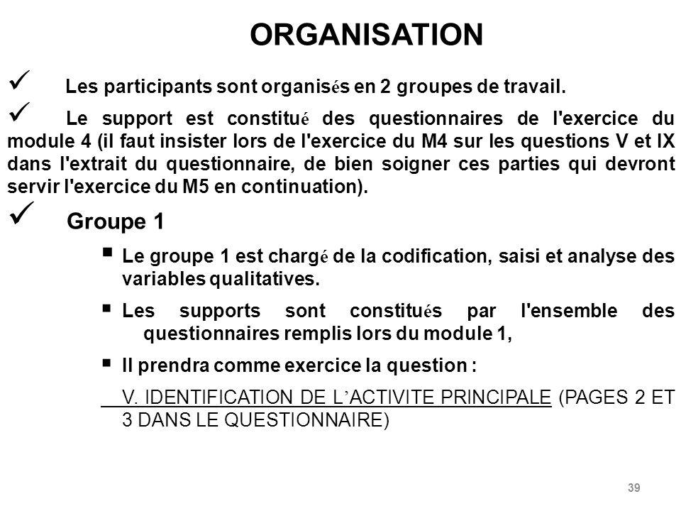 39 ORGANISATION Les participants sont organis é s en 2 groupes de travail.
