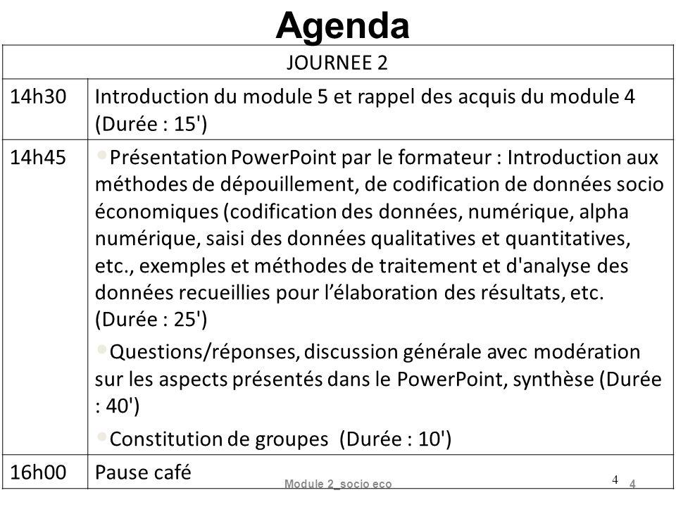 5 16h30 Travaux de groupes : exercice sur le saisi et l analyse des données, (moyenne, médiane, écart type, etc.).