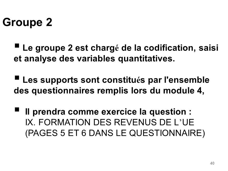 40 Groupe 2 Le groupe 2 est charg é de la codification, saisi et analyse des variables quantitatives.