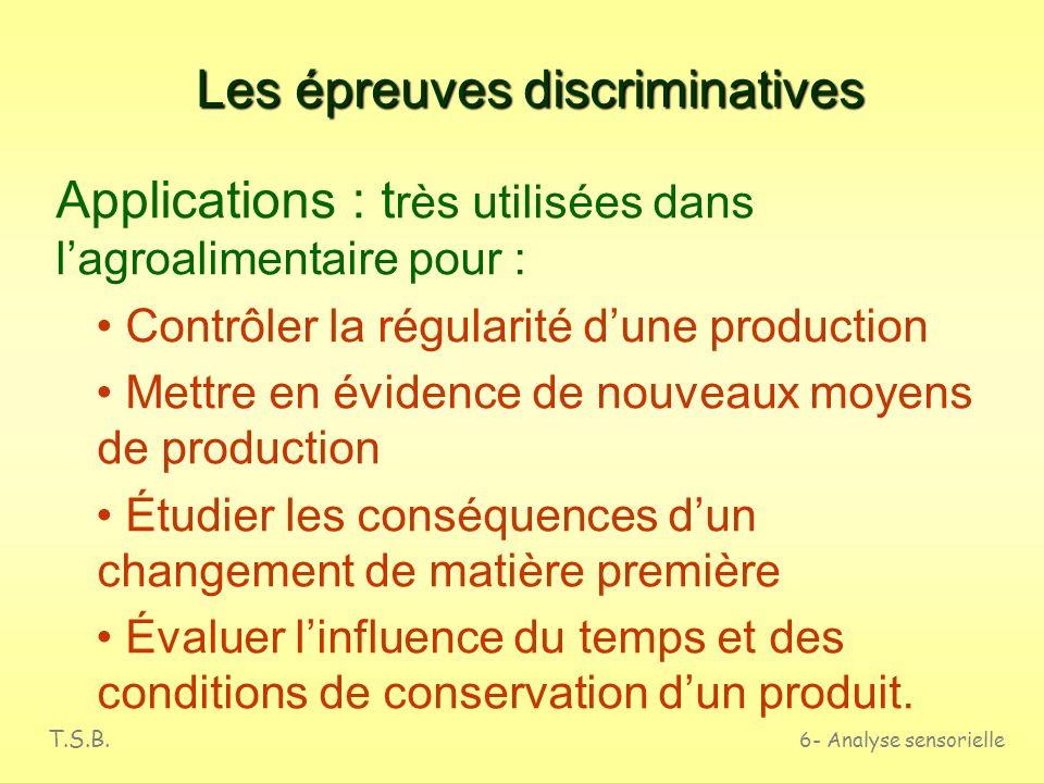 T.S.B. 6- Analyse sensorielle Les épreuves discriminatives Définition Elles permettent de détecter labsence ou la présence de différences entre deux p