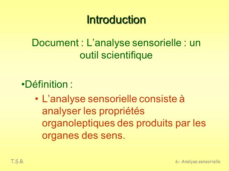 T.S.B. 6- Analyse sensorielle LANALYSE SENSORIELLE