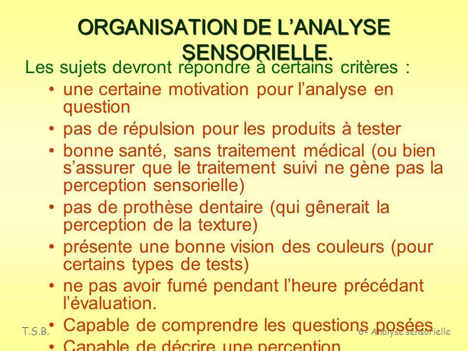 T.S.B. 6- Analyse sensorielle ORGANISATION DE LANALYSE SENSORIELLE. Origine différente selon le but de lanalyse : Des experts, entraînés Des dégustate