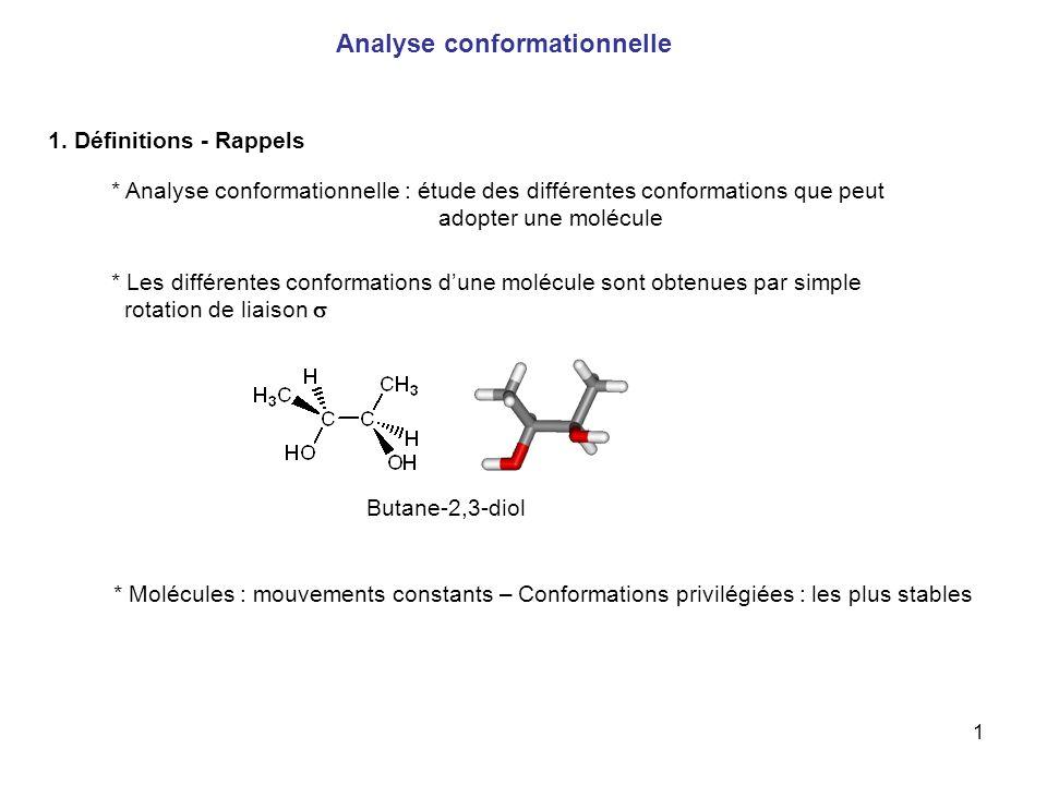 1 Analyse conformationnelle 1. Définitions - Rappels * Analyse conformationnelle : étude des différentes conformations que peut adopter une molécule *