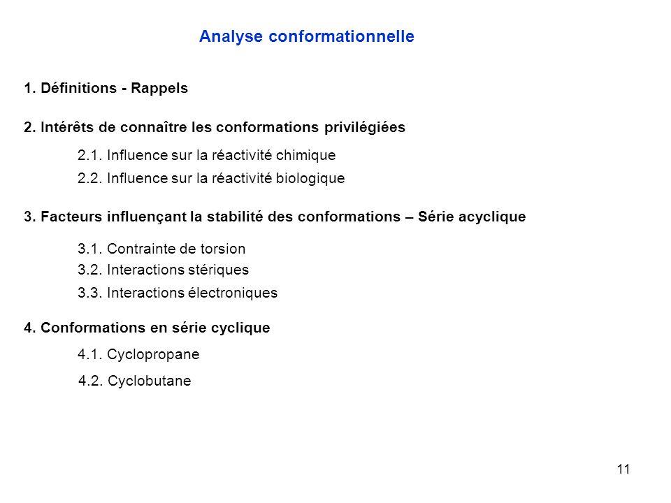 11 4.1. Cyclopropane Analyse conformationnelle 1. Définitions - Rappels 2. Intérêts de connaître les conformations privilégiées 2.1. Influence sur la