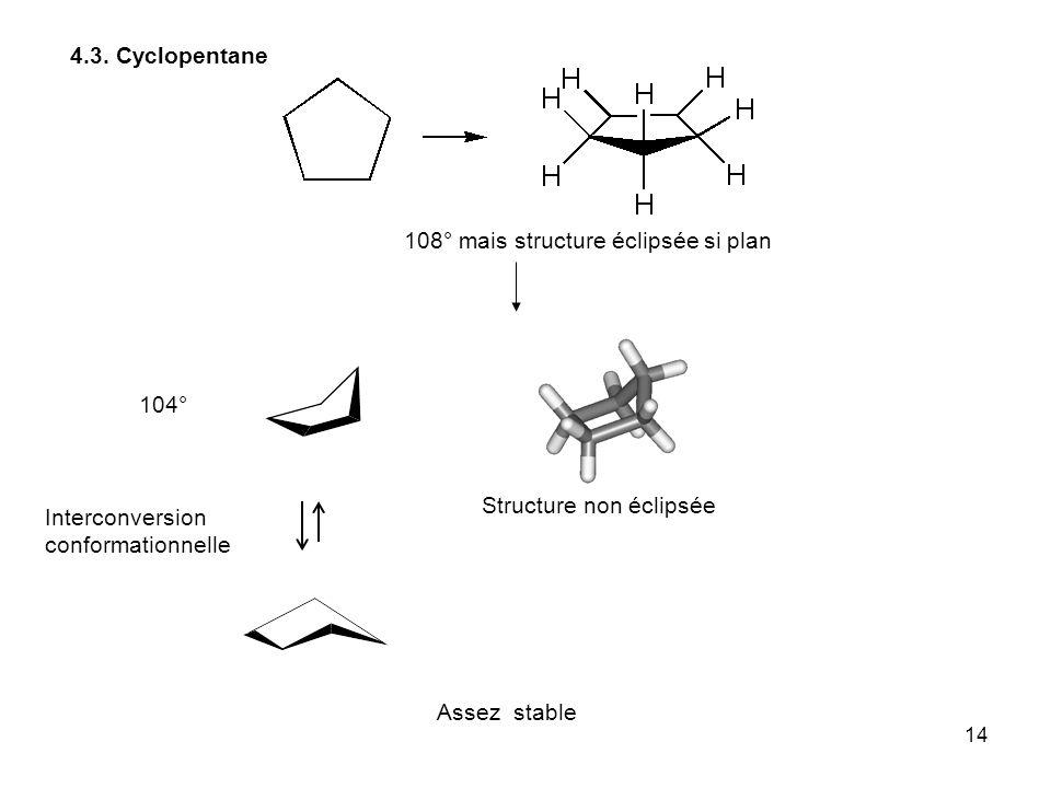14 4.3. Cyclopentane Structure non éclipsée Assez stable 108° mais structure éclipsée si plan 104° Interconversion conformationnelle