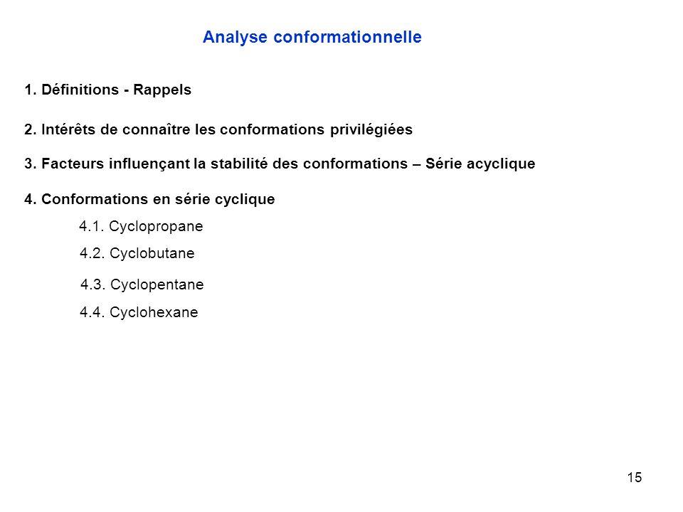 15 4.1. Cyclopropane Analyse conformationnelle 1. Définitions - Rappels 2. Intérêts de connaître les conformations privilégiées 3. Facteurs influençan