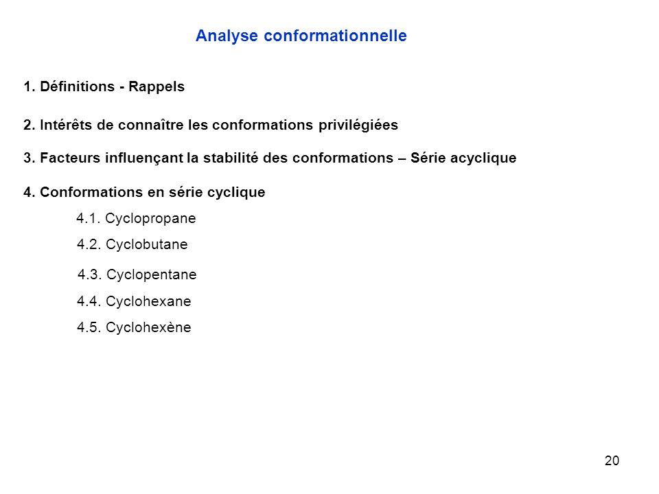 20 4.1. Cyclopropane Analyse conformationnelle 1. Définitions - Rappels 2. Intérêts de connaître les conformations privilégiées 3. Facteurs influençan