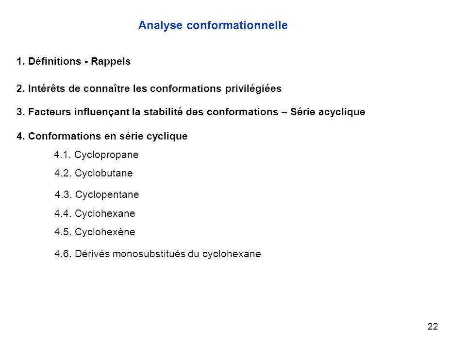 22 4.1. Cyclopropane Analyse conformationnelle 1. Définitions - Rappels 2. Intérêts de connaître les conformations privilégiées 3. Facteurs influençan