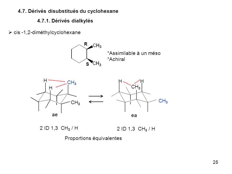 25 4.7. Dérivés disubstitués du cyclohexane CH 3 4.7.1. Dérivés dialkylés cis -1,2-diméthylcyclohexane R S *Assimilable à un méso *Achiral CH 3 H H HH