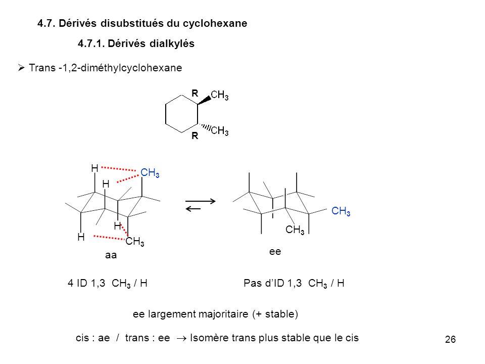 26 4.7. Dérivés disubstitués du cyclohexane CH 3 4.7.1. Dérivés dialkylés Trans -1,2-diméthylcyclohexane CH 3 H H 4 ID 1,3 CH 3 / HPas dID 1,3 CH 3 /
