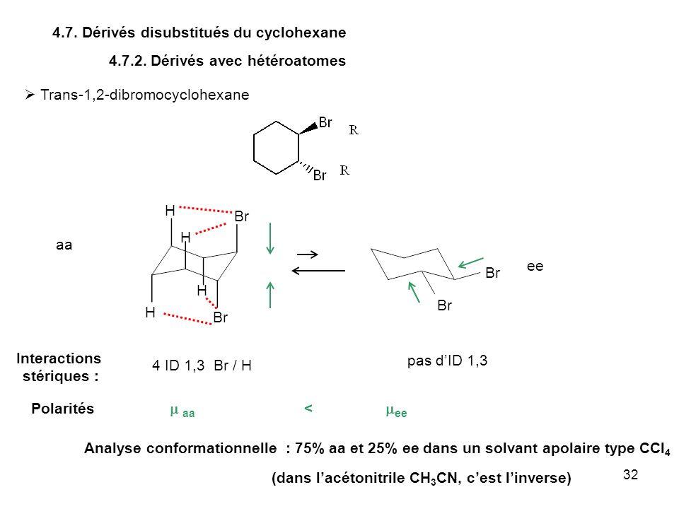32 4.7. Dérivés disubstitués du cyclohexane 4.7.2. Dérivés avec hétéroatomes Trans-1,2-dibromocyclohexane Br H 4 ID 1,3 Br / H pas dID 1,3 Br H H H An