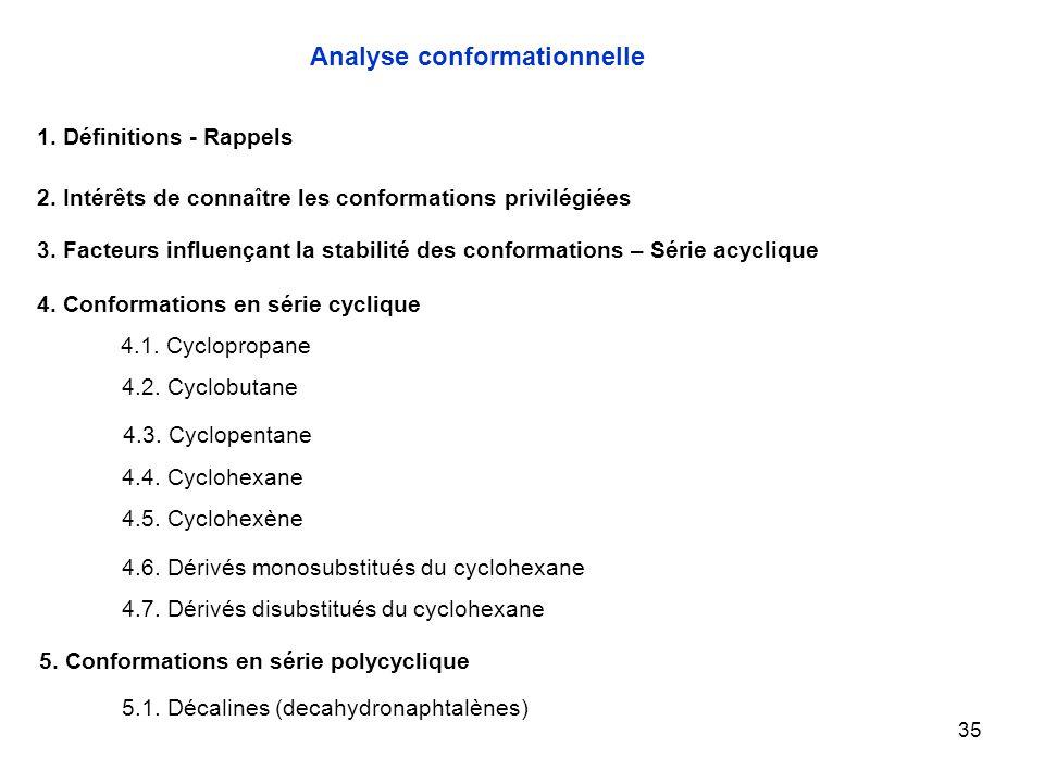 35 4.1. Cyclopropane Analyse conformationnelle 1. Définitions - Rappels 2. Intérêts de connaître les conformations privilégiées 3. Facteurs influençan