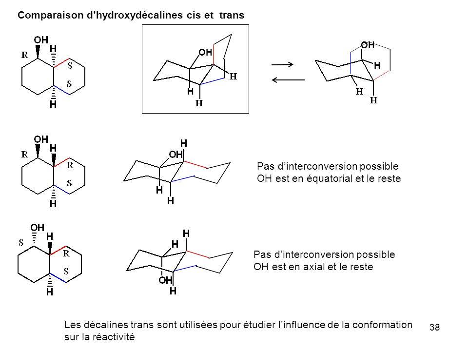 38 Comparaison dhydroxydécalines cis et trans OH Pas dinterconversion possible OH est en équatorial et le reste Les décalines trans sont utilisées pou