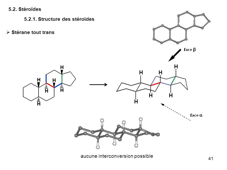 41 5.2. Stéroïdes 5.2.1. Structure des stéroïdes Stérane tout trans aucune interconversion possible