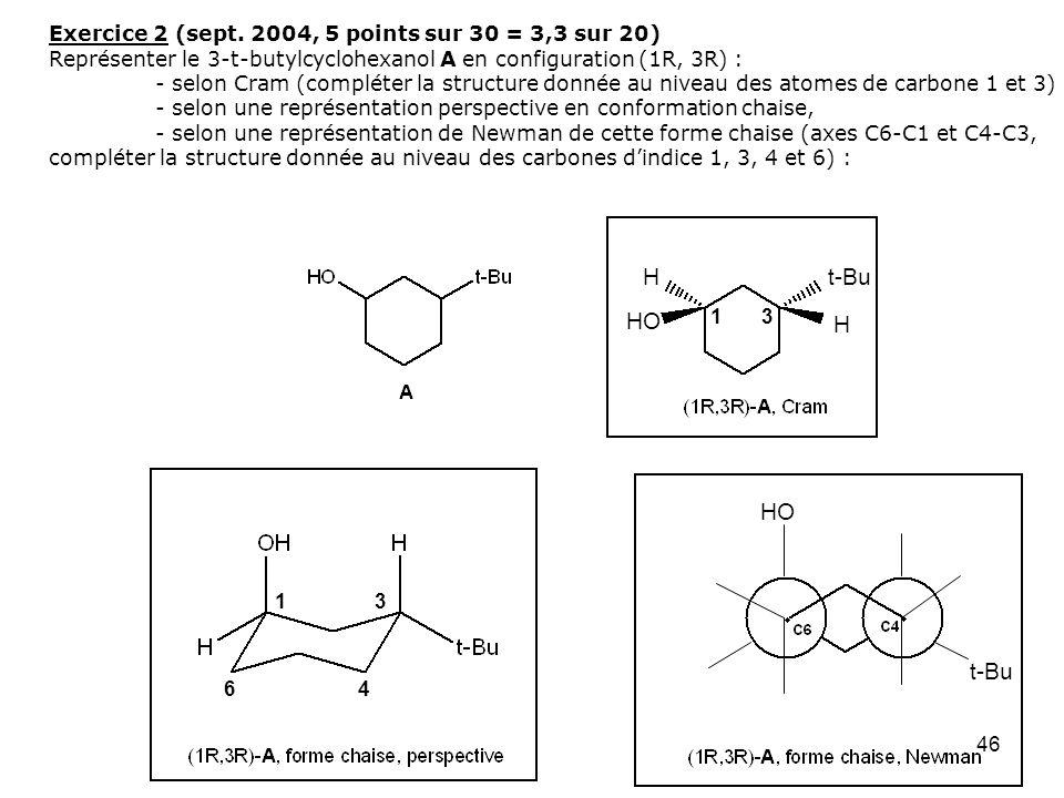 46 Exercice 2 (sept. 2004, 5 points sur 30 = 3,3 sur 20) Représenter le 3-t-butylcyclohexanol A en configuration (1R, 3R) : - selon Cram (compléter la
