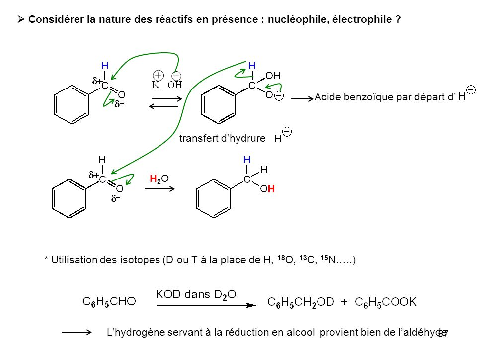 57 Considérer la nature des réactifs en présence : nucléophile, électrophile ? Acide benzoïque par départ d transfert dhydrure H2OH2O * Utilisation de