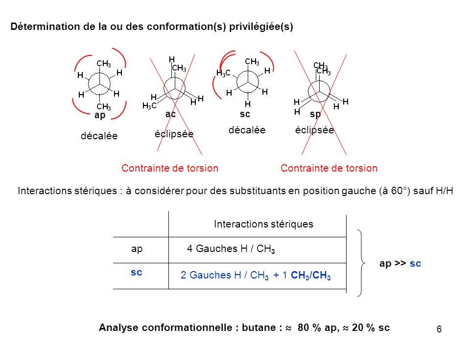 6 ap sc Analyse conformationnelle : butane : 80 % ap, 20 % sc acsp décalée éclipsée Interactions stériques : à considérer pour des substituants en pos