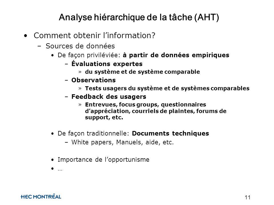 11 Analyse hiérarchique de la tâche (AHT) Comment obtenir linformation.