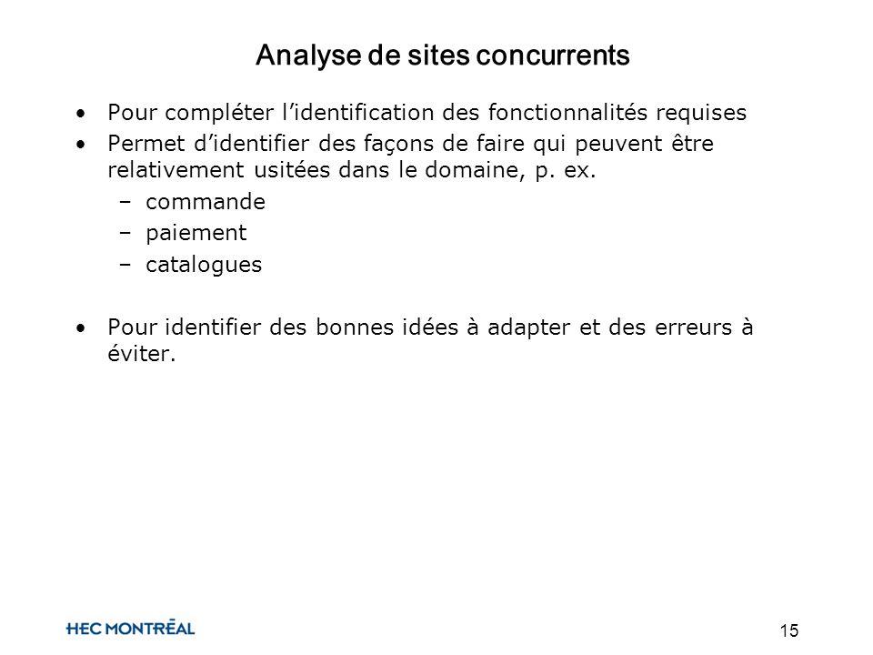 15 Analyse de sites concurrents Pour compléter lidentification des fonctionnalités requises Permet didentifier des façons de faire qui peuvent être relativement usitées dans le domaine, p.
