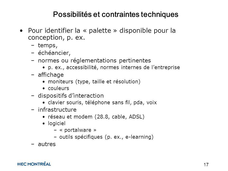 17 Possibilités et contraintes techniques Pour identifier la « palette » disponible pour la conception, p.