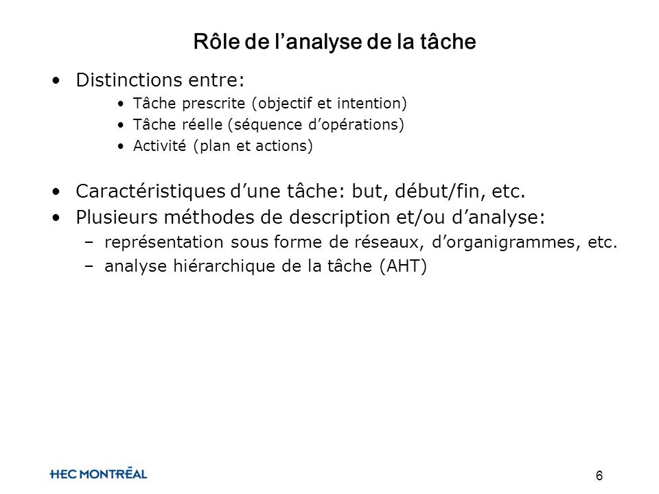 6 Rôle de lanalyse de la tâche Distinctions entre: Tâche prescrite (objectif et intention) Tâche réelle (séquence dopérations) Activité (plan et actions) Caractéristiques dune tâche: but, début/fin, etc.