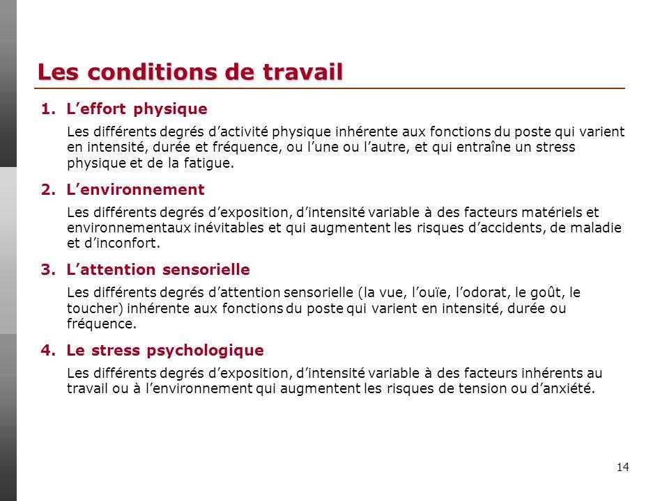 14 Les conditions de travail 1.