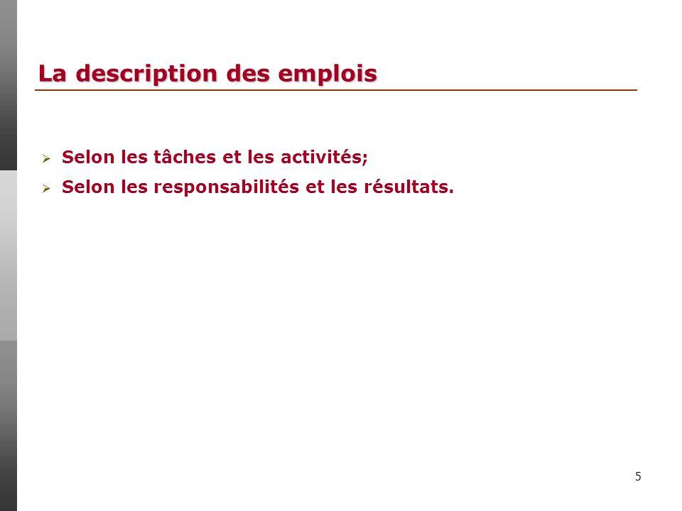 5 La description des emplois Selon les tâches et les activités; Selon les responsabilités et les résultats.