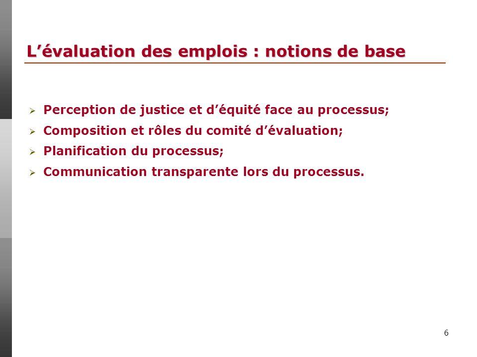 6 Lévaluation des emplois : notions de base Perception de justice et déquité face au processus; Composition et rôles du comité dévaluation; Planification du processus; Communication transparente lors du processus.