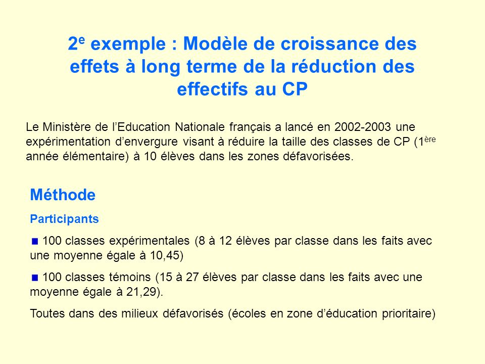 2 e exemple : Modèle de croissance des effets à long terme de la réduction des effectifs au CP Méthode Participants 100 classes expérimentales (8 à 12