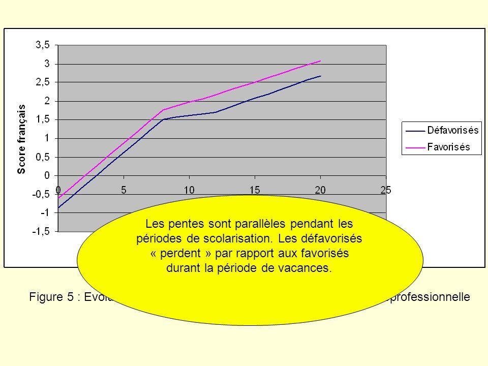 Figure 5 : Evolution des scores de français selon la catégorie socioprofessionnelle du père Les pentes sont parallèles pendant les périodes de scolari