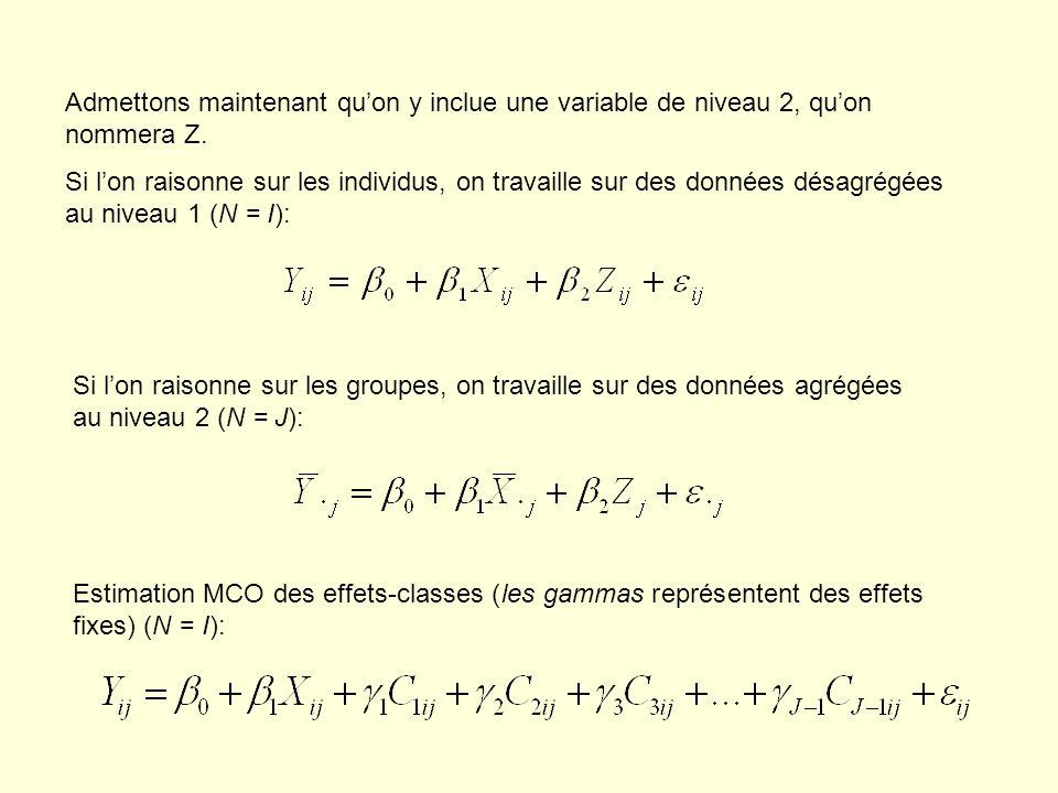 Admettons maintenant quon y inclue une variable de niveau 2, quon nommera Z. Si lon raisonne sur les individus, on travaille sur des données désagrégé