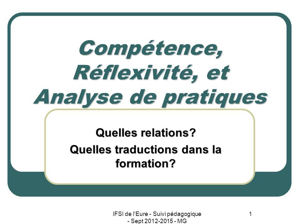 IFSI de l'Eure - Suivi pédagogique - Sept 2012-2015 - MG 1 Compétence, Réflexivité, et Analyse de pratiques Quelles relations? Quelles traductions dan