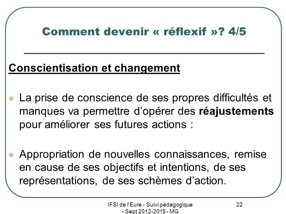 IFSI de l'Eure - Suivi pédagogique - Sept 2012-2015 - MG 22 Comment devenir « réflexif »? 4/5 Conscientisation et changement La prise de conscience de