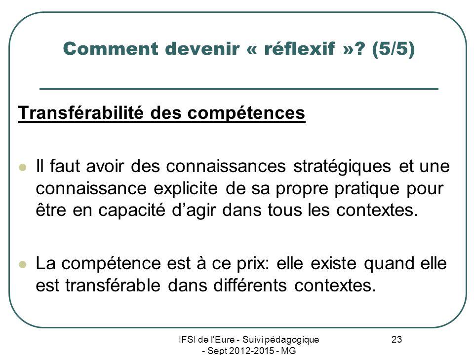 IFSI de l'Eure - Suivi pédagogique - Sept 2012-2015 - MG 23 Comment devenir « réflexif »? (5/5) Transférabilité des compétences Il faut avoir des conn