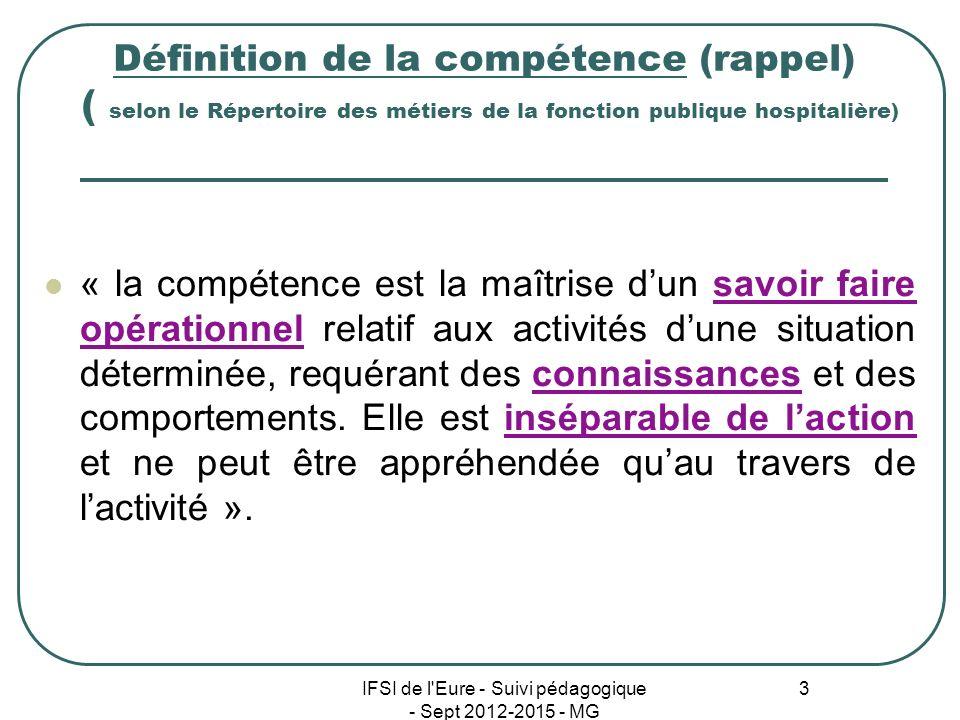 IFSI de l'Eure - Suivi pédagogique - Sept 2012-2015 - MG 3 Définition de la compétence (rappel) ( selon le Répertoire des métiers de la fonction publi