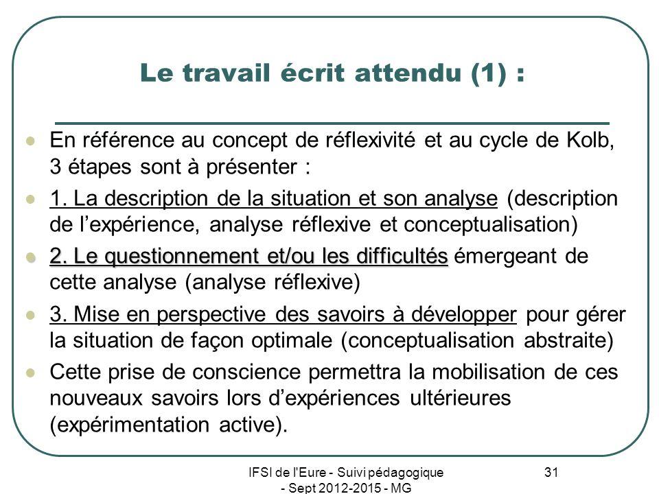 IFSI de l'Eure - Suivi pédagogique - Sept 2012-2015 - MG 31 Le travail écrit attendu (1) : En référence au concept de réflexivité et au cycle de Kolb,
