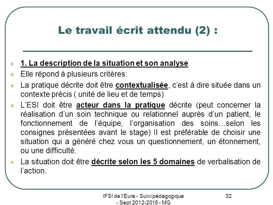 IFSI de l'Eure - Suivi pédagogique - Sept 2012-2015 - MG 32 Le travail écrit attendu (2) : 1. La description de la situation et son analyse Elle répon