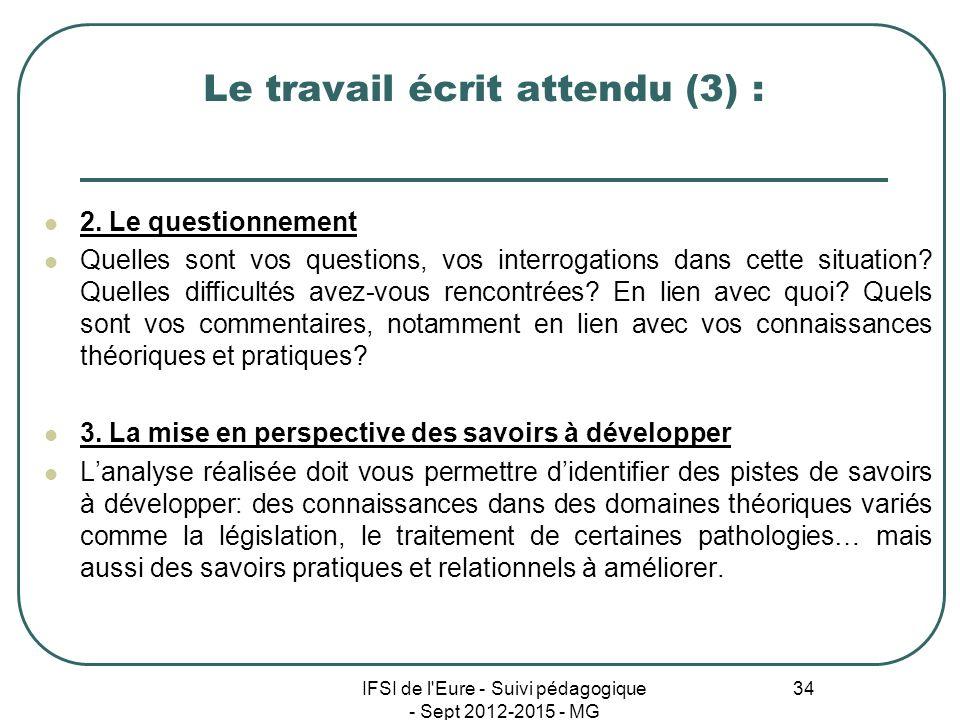 IFSI de l'Eure - Suivi pédagogique - Sept 2012-2015 - MG 34 Le travail écrit attendu (3) : 2. Le questionnement Quelles sont vos questions, vos interr