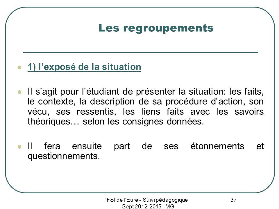 IFSI de l'Eure - Suivi pédagogique - Sept 2012-2015 - MG 37 1) lexposé de la situation Il sagit pour létudiant de présenter la situation: les faits, l