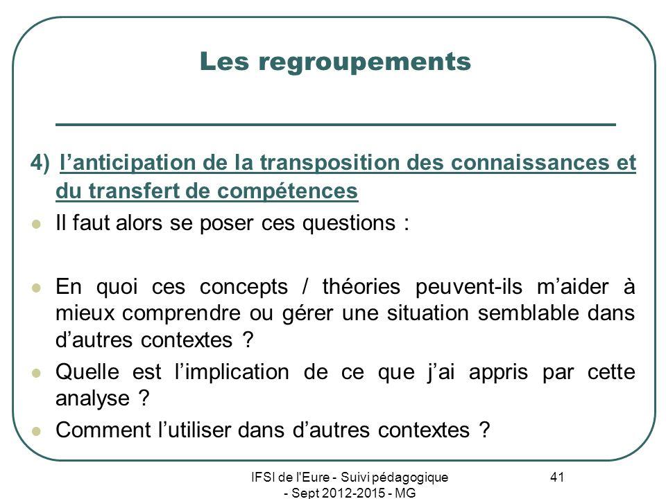 IFSI de l'Eure - Suivi pédagogique - Sept 2012-2015 - MG 41 Les regroupements 4) lanticipation de la transposition des connaissances et du transfert d