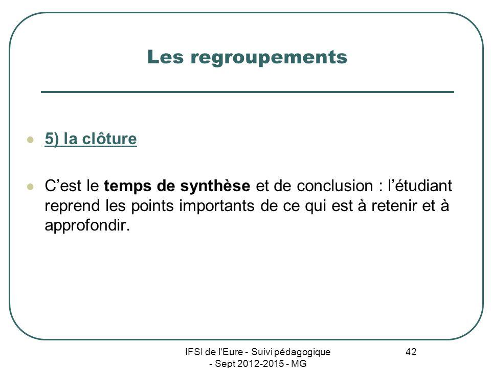 IFSI de l'Eure - Suivi pédagogique - Sept 2012-2015 - MG 42 Les regroupements 5) la clôture Cest le temps de synthèse et de conclusion : létudiant rep