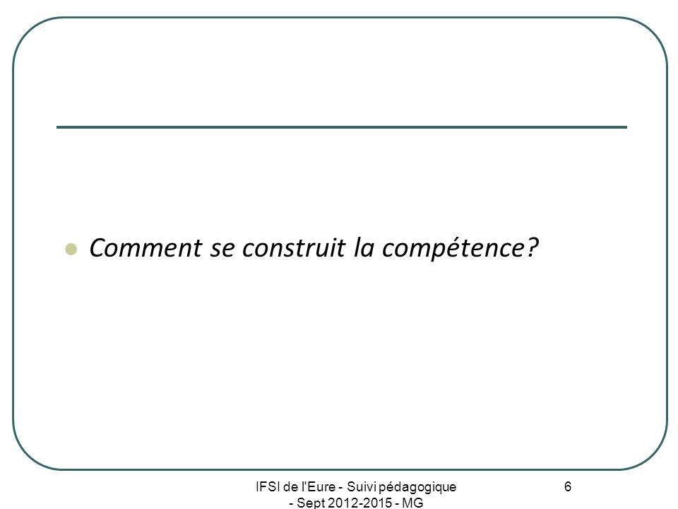 IFSI de l'Eure - Suivi pédagogique - Sept 2012-2015 - MG 6 Comment se construit la compétence?