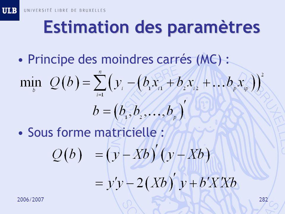 2006/2007283 Estimation des paramètres