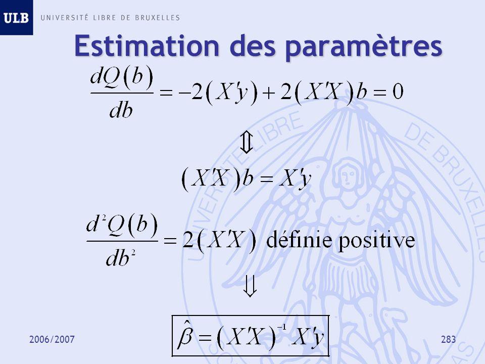 2006/2007284 Définitions Résidus Estimateur de 2 Valeur observée Valeur ajustée