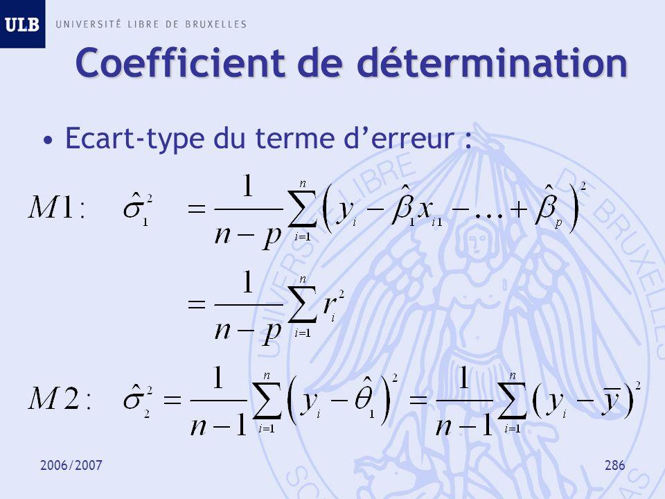 2006/2007287 Mesure de qualité de M1 par rapport à M2 : Coefficient de détermination corrigé (« adjusted R-square ») Coefficient de détermination